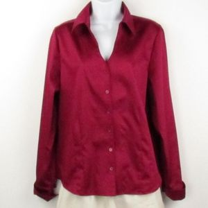 Coldwater Creek Cranberry Button Front Blouse